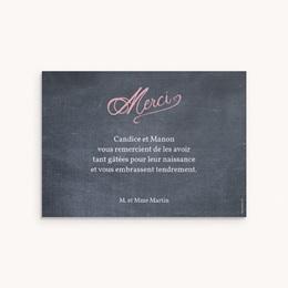 Carte de Remerciement Naissance Ardoise Jumelles pas cher