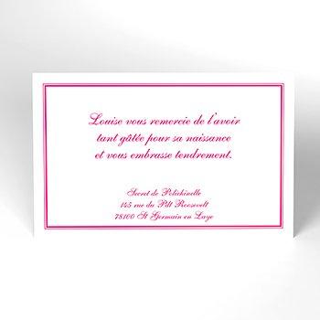 Carte de Remerciement Naissance Anglaise rose personnalisé