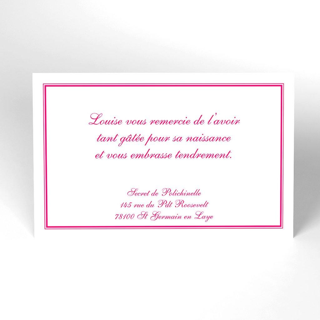 Carte de Remerciement Naissance Anglaise rose
