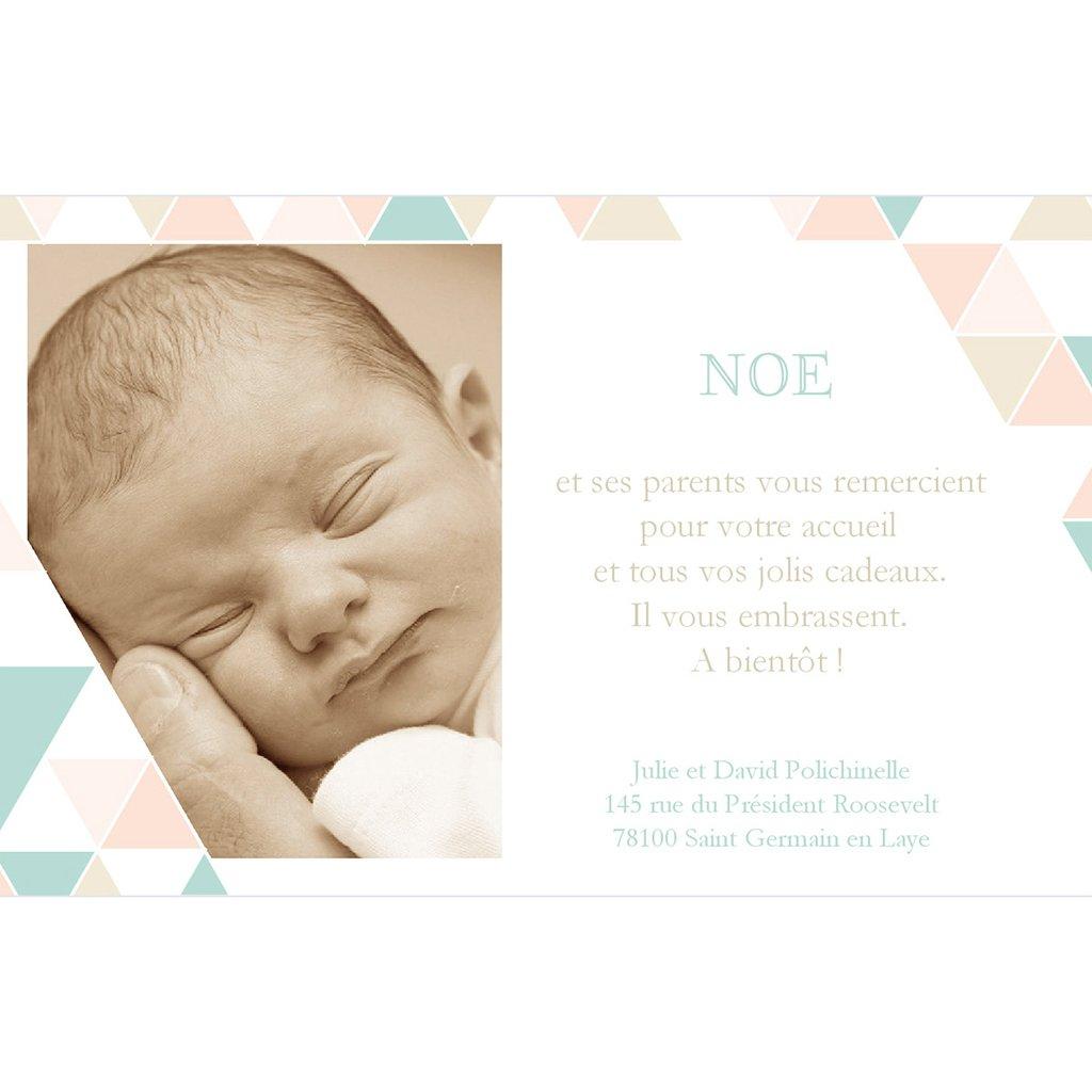 Carte de Remerciement Naissance Chéri d'Amour pas cher