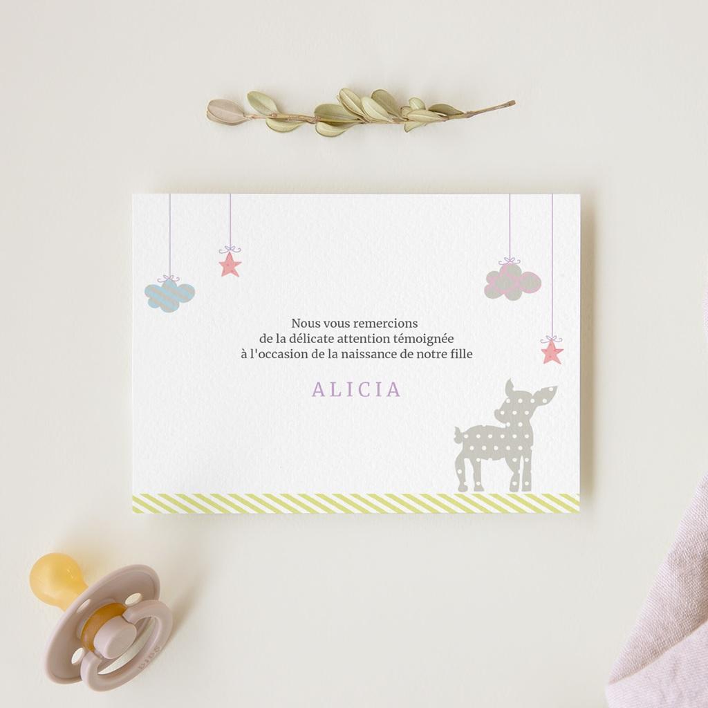 Carte de Remerciement Naissance Forêt Enchantée