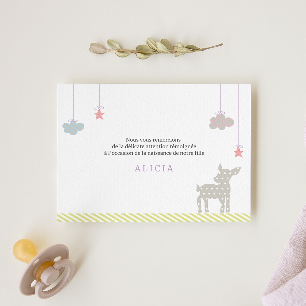 Carte de Remerciement Naissance Forêt Enchantée gratuit