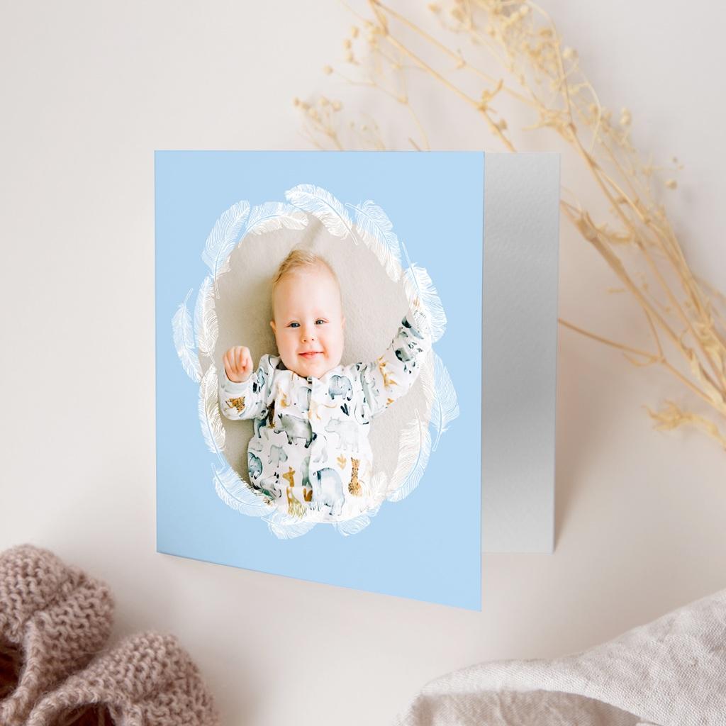 Faire-part de Naissance Douce Plume Bleu gratuit