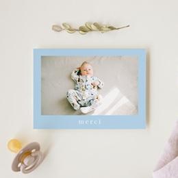 Carte de Remerciement Naissance Douce Plume Bleu