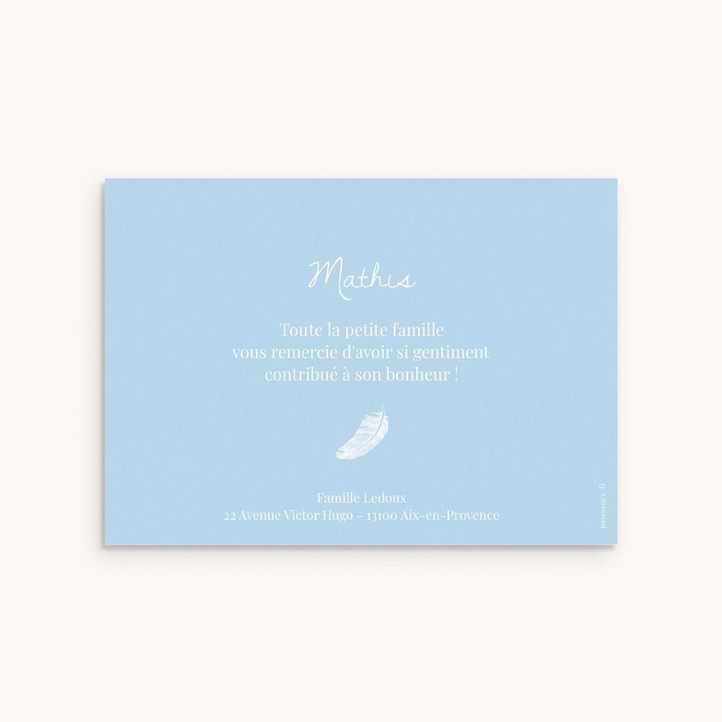 Carte de Remerciement Naissance Douce Plume Bleu pas cher