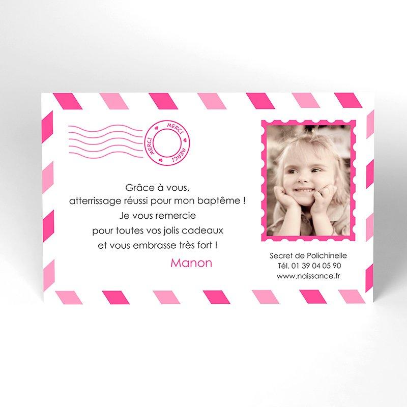 Carte de Remerciement Baptême Billet d'Avion baptême fille