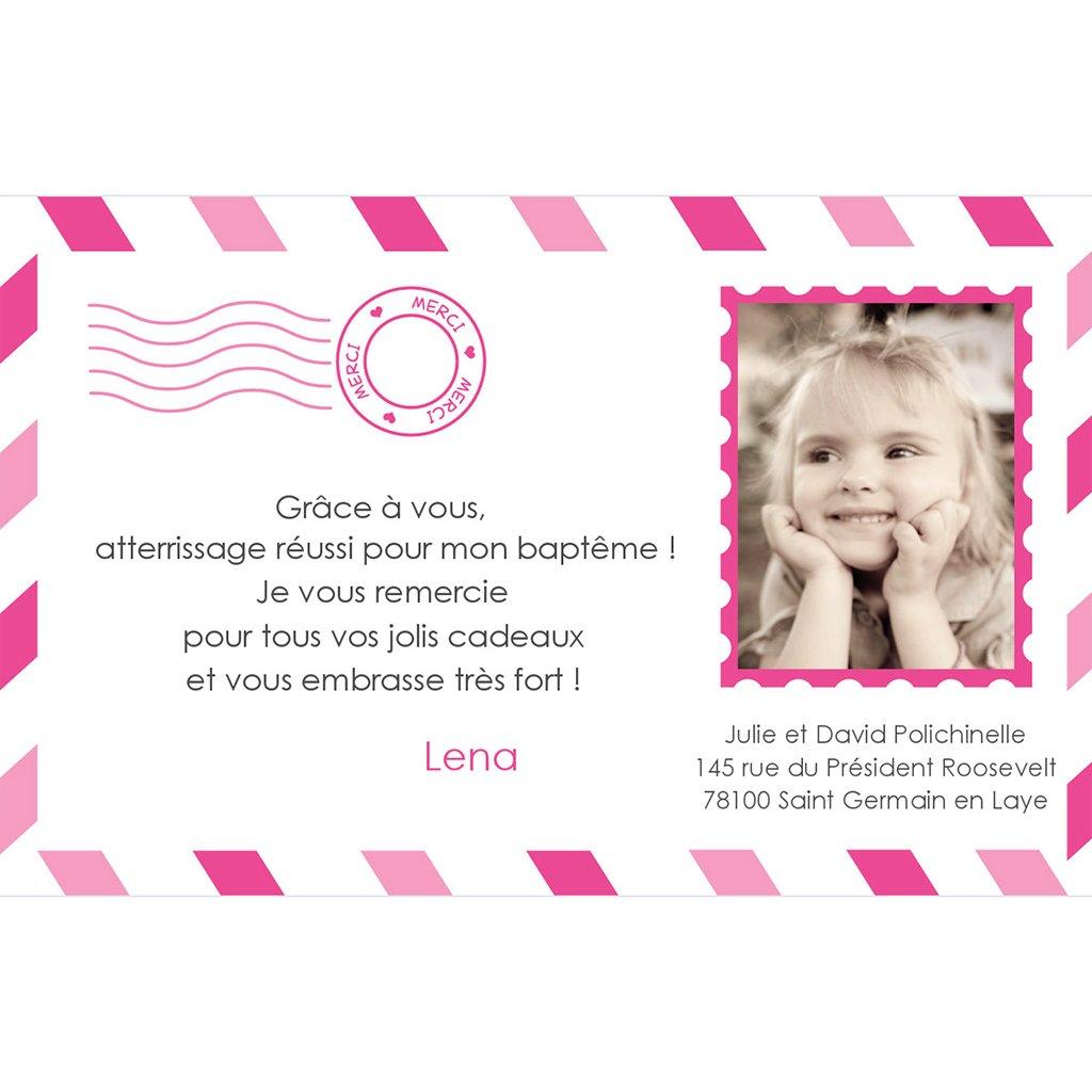 Carte de Remerciement Baptême Billet d'Avion baptême fille pas cher