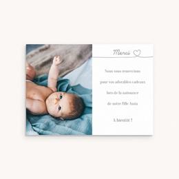 Carte de Remerciement Naissance Bébé d'Amour
