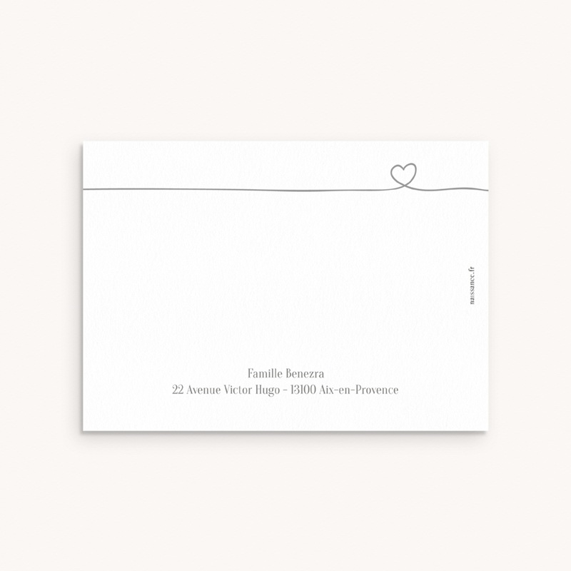Carte de Remerciement Naissance Bébé d'Amour pas cher