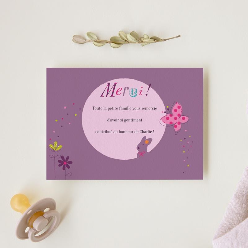 Carte de Remerciement Naissance Merveille fille gratuit
