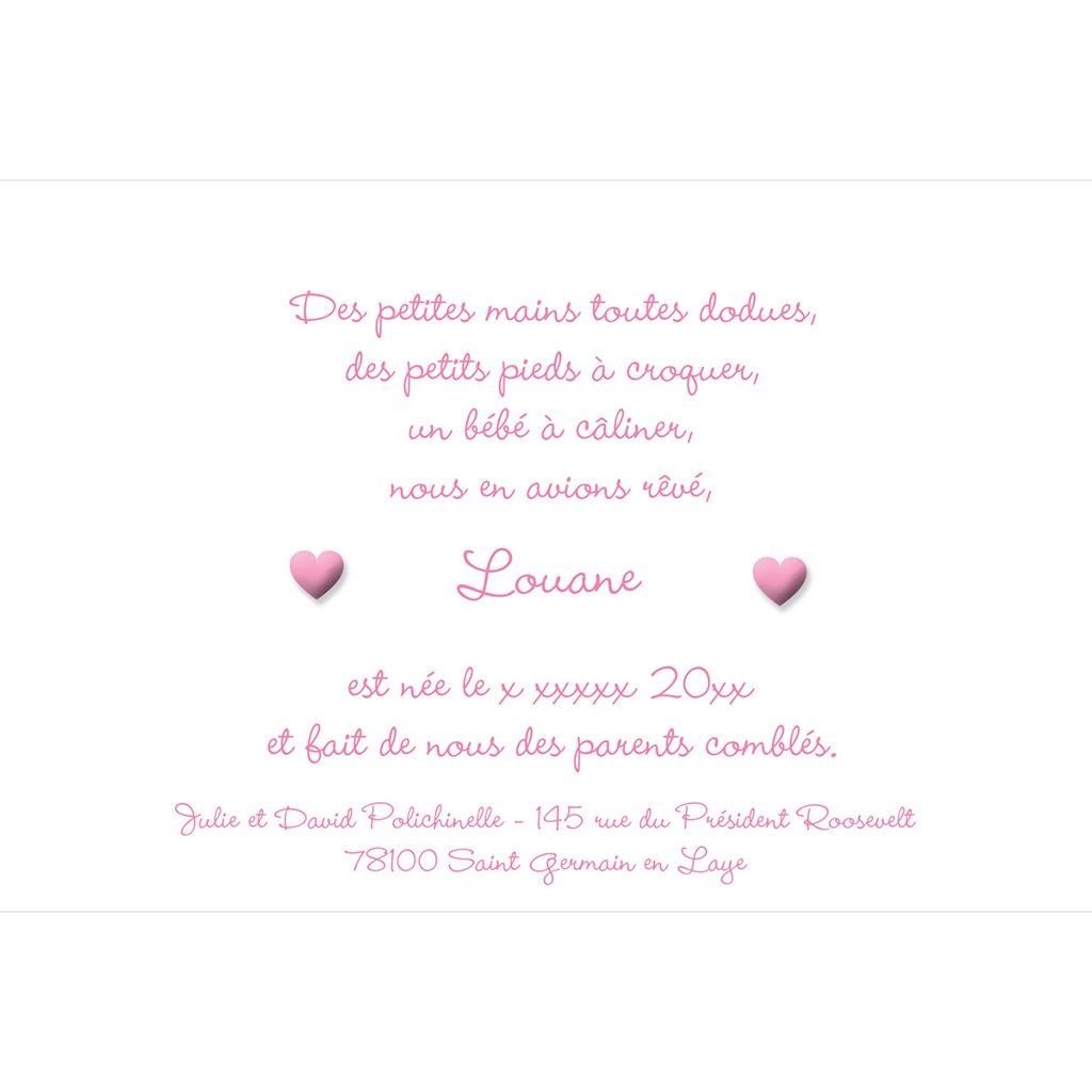 Faire-part de Naissance Pictos rose