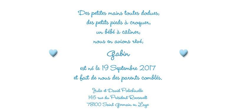 Faire-part de Naissance Pictos bleu gratuit