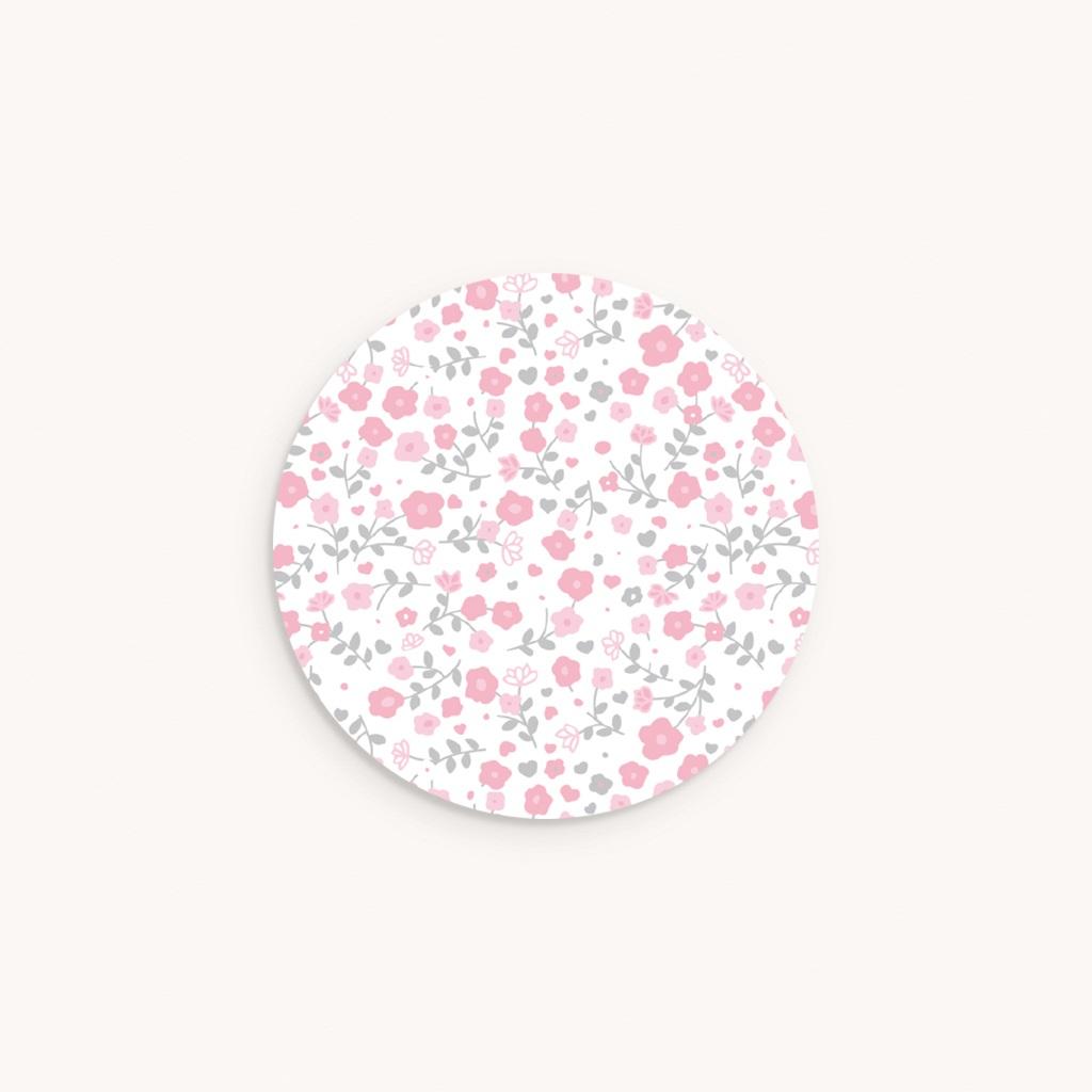 Sticker Enveloppe Naissance Noeud Fille, motif fleurs roses