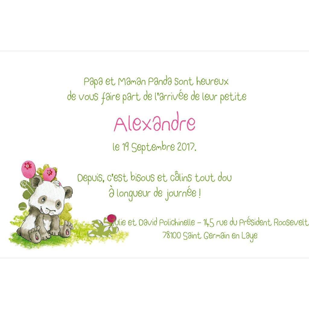 Faire-part de Naissance Famille Panda fille gratuit