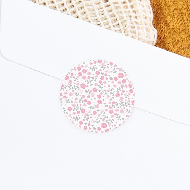 Sticker Enveloppe Naissance Noeud Fille, motif fleurs roses gratuit