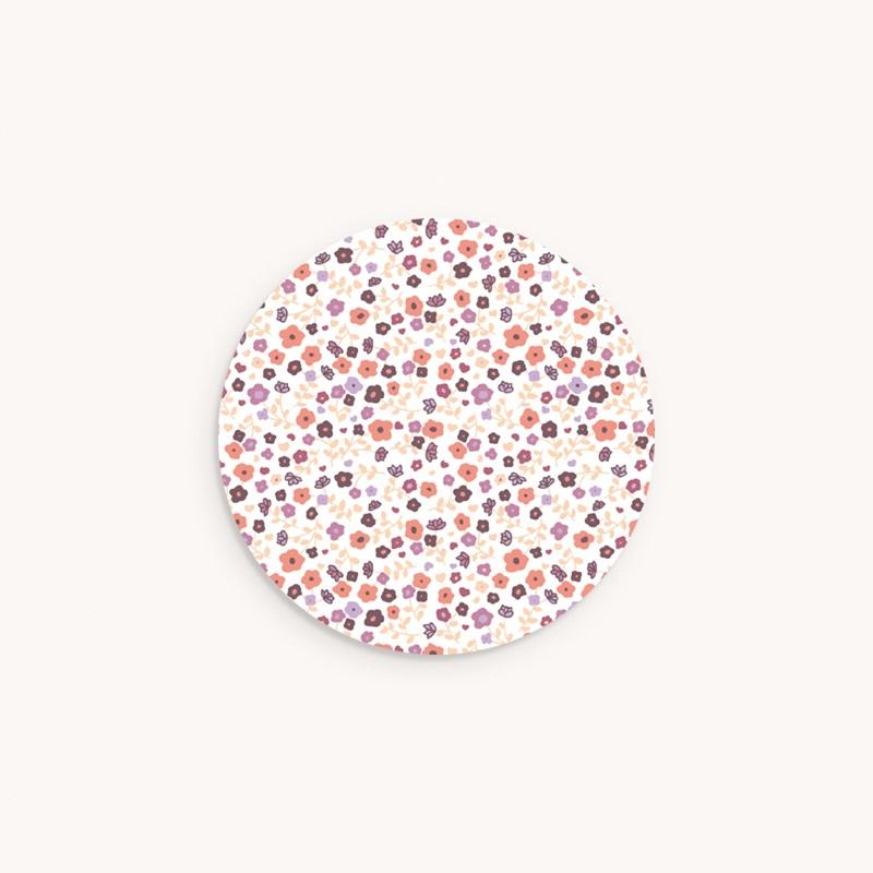 Sticker Enveloppe Baptême Petit motif fleuri, 4,5 cm