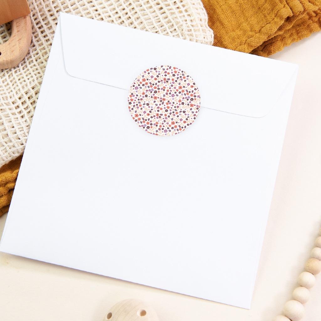 Sticker Enveloppe Baptême Petit motif fleuri, 4,5 cm pas cher