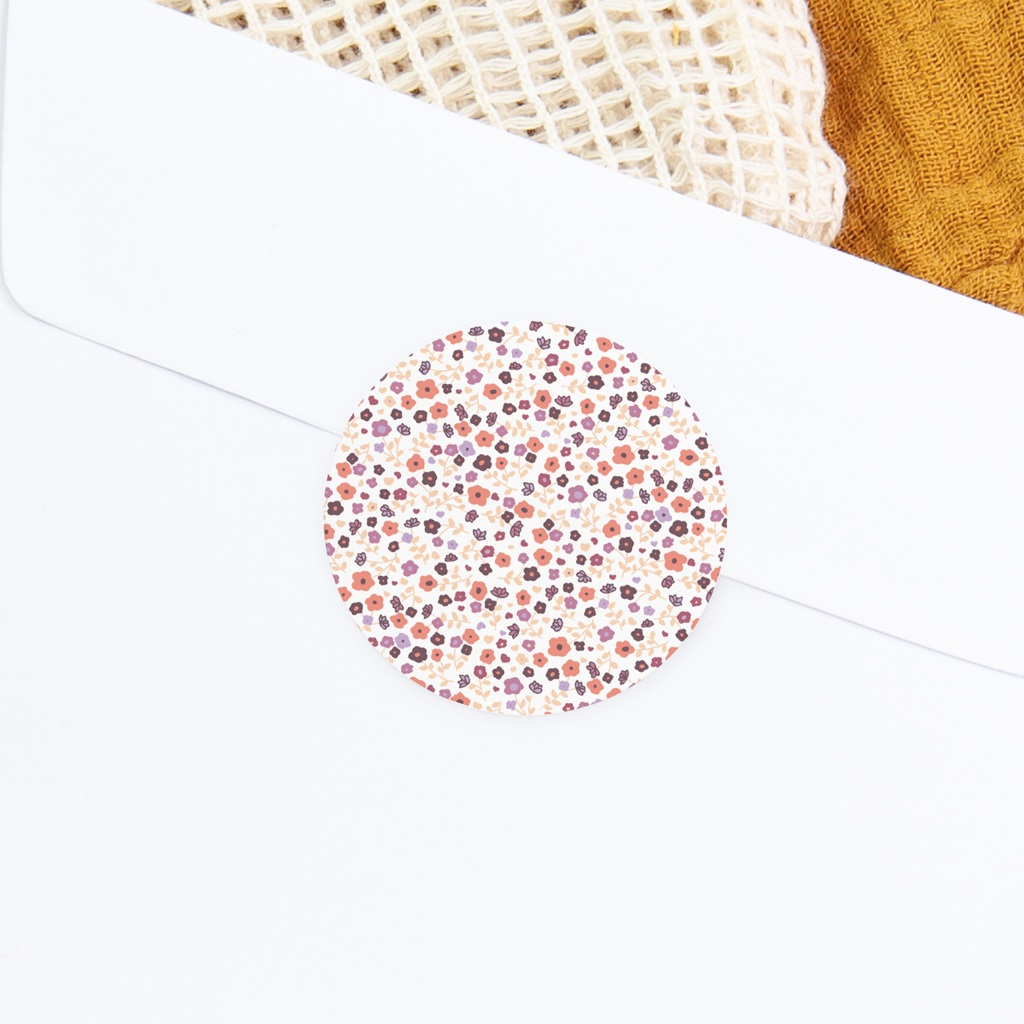 Sticker Enveloppe Baptême Petit motif fleuri, 4,5 cm gratuit