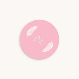 Sticker Enveloppe Naissance Douces plumes rose dragée