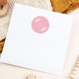 Sticker Enveloppe Naissance Douces plumes rose dragée pas cher