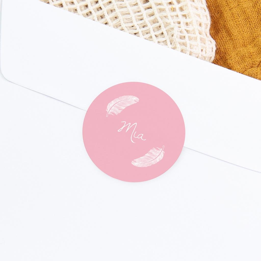 Sticker Enveloppe Naissance Douces plumes rose dragée gratuit
