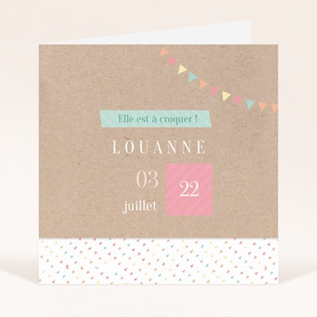 Faire-part de Naissance Pastel kraft fille original
