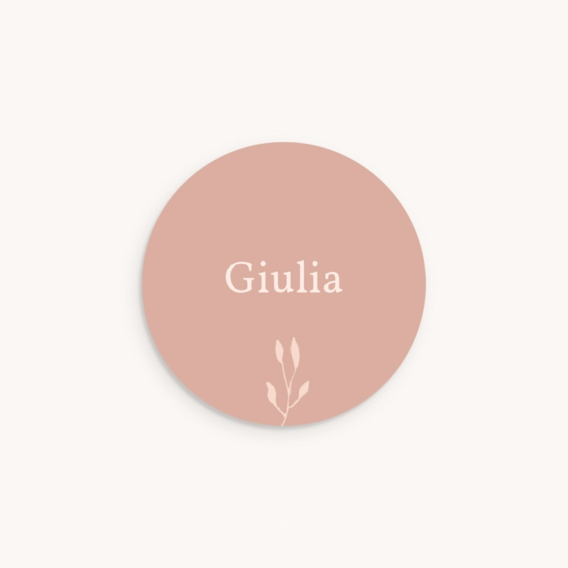 Sticker Enveloppe Naissance Petit Herbier poudré