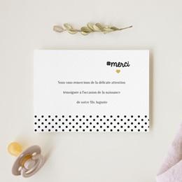 Carte de Remerciement Naissance Hashtag gratuit