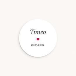 Sticker Enveloppe Naissance Phototographe, Coeur rouge