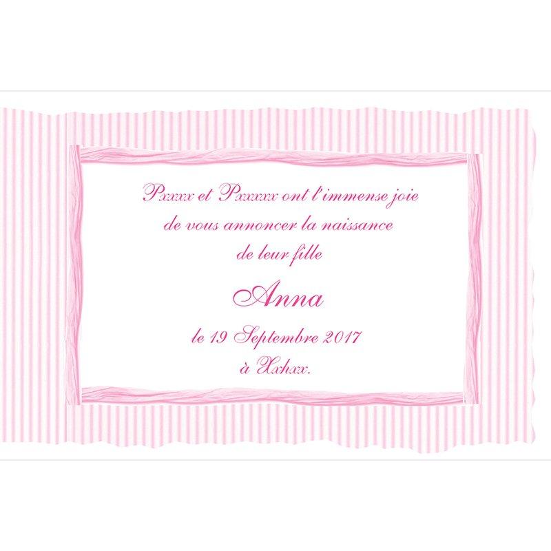Faire-part de Naissance Raphia Pastel rose