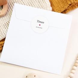 Sticker Enveloppe Naissance Phototographe, Coeur rouge pas cher