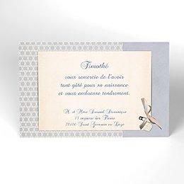 Carte de Remerciement Naissance Macaron bleu