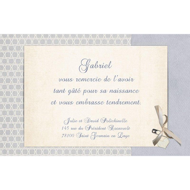 Carte de Remerciement Naissance Macaron bleu pas cher