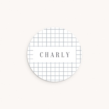 Sticker Enveloppe Naissance Petite voiture, quadrillage personnalisé