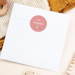 Sticker Enveloppe Naissance Attrape-rêve rose pas cher