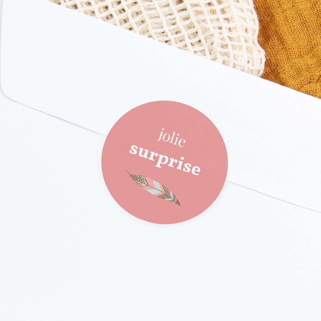 Sticker Enveloppe Naissance Attrape-rêve rose gratuit