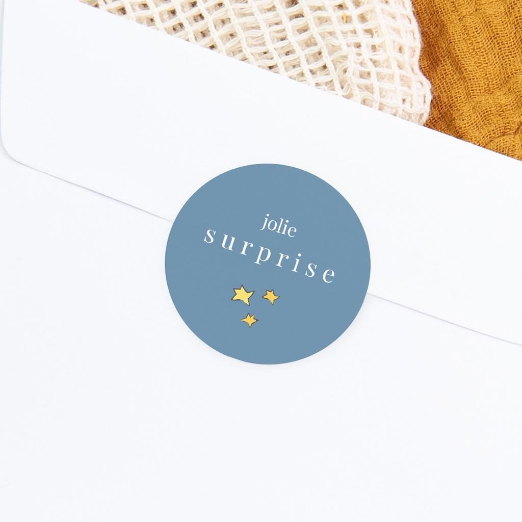 Sticker Enveloppe Naissance Petit Prince 18, étoiles gratuit