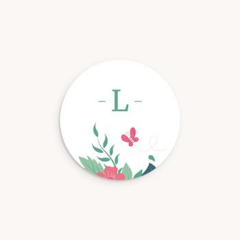 Sticker Enveloppe Naissance Fleur et Papillon, Initiale