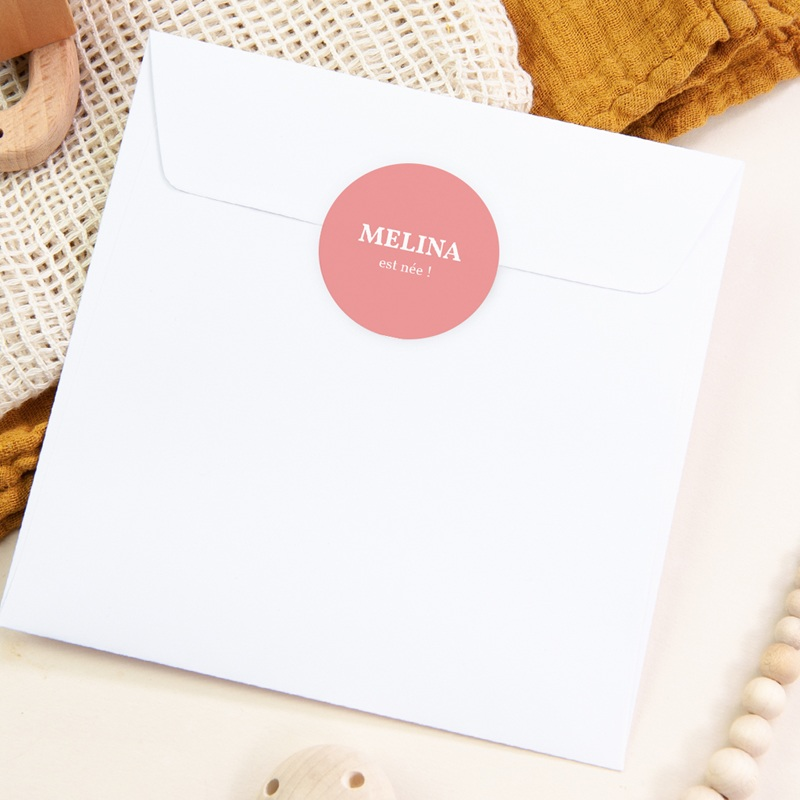 Sticker Enveloppe Naissance Mania Fille, 4,5 cm pas cher