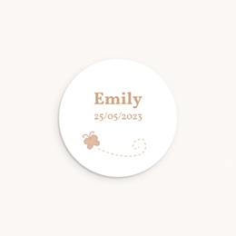 Sticker Enveloppe Naissance Faon Beige, papillon