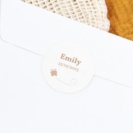 Sticker Enveloppe Naissance Faon Beige, papillon gratuit