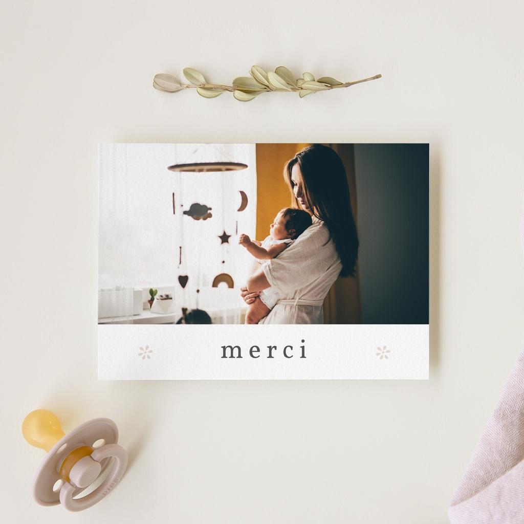 Carte de Remerciement Naissance Le Petit Faon rose