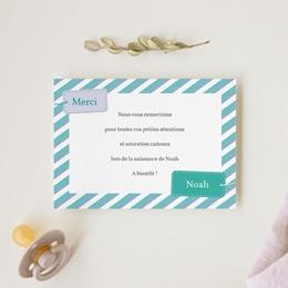 Carte de Remerciement Naissance Etiquette garçon gratuit