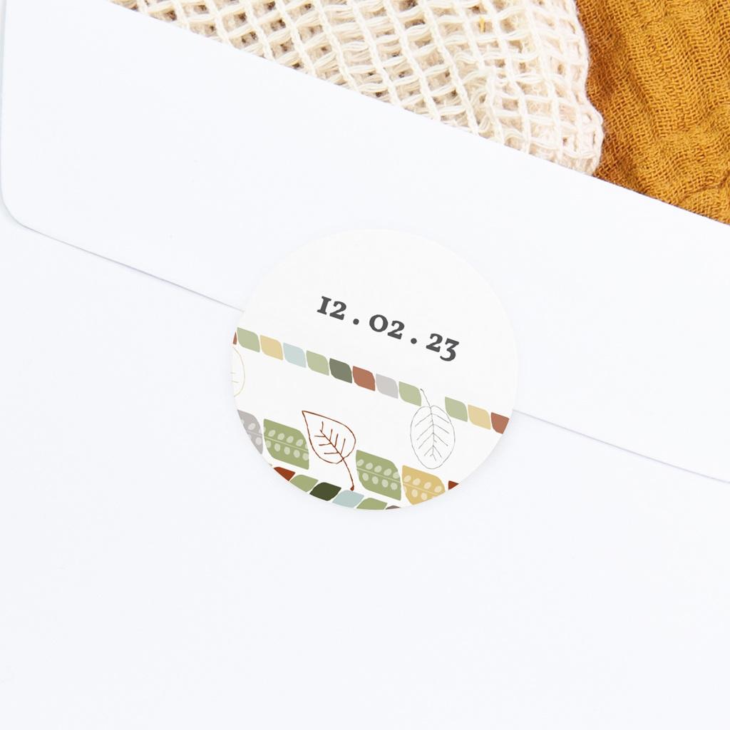 Sticker Enveloppe Naissance Douce nature, date gratuit