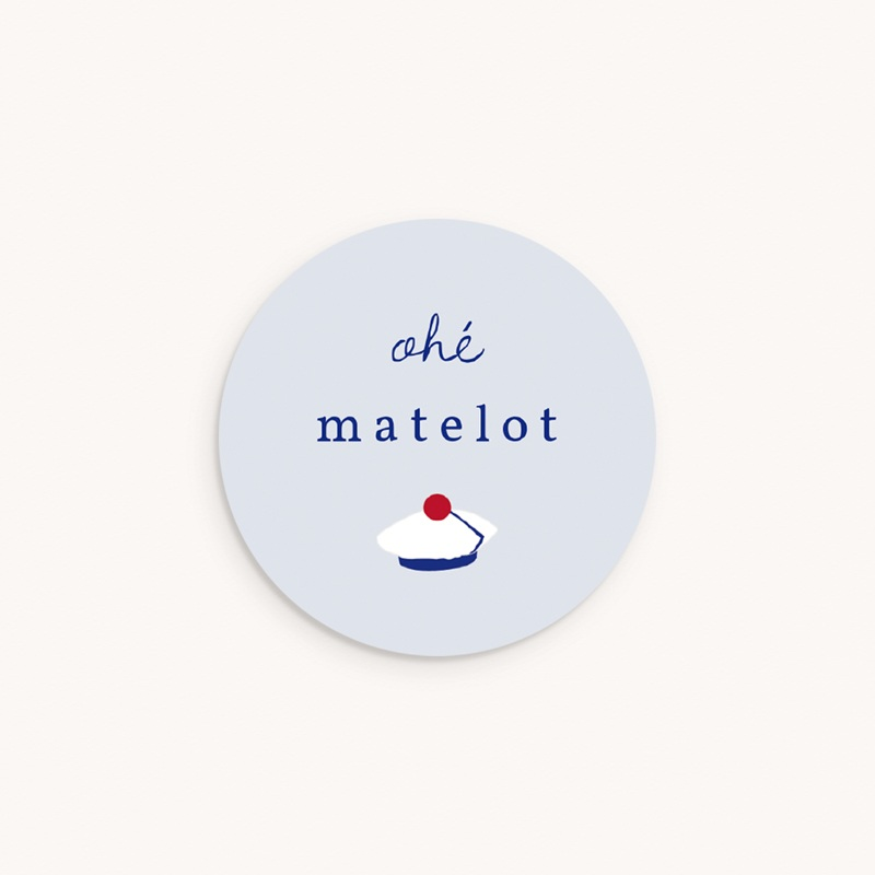 Sticker Enveloppe Naissance Esprit Matelot, 4.5 cm