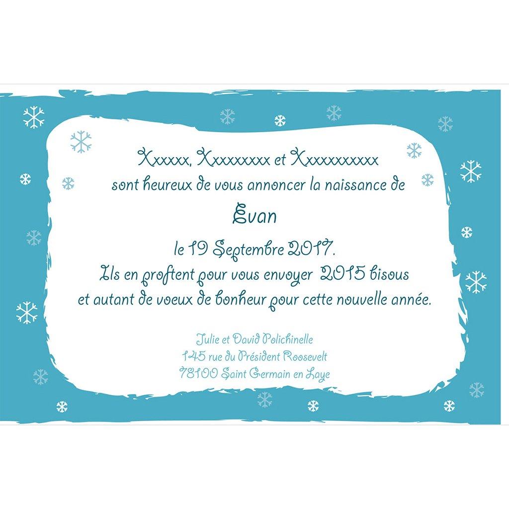 Faire-part de Naissance Flocon gratuit