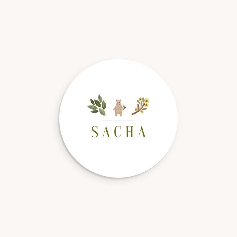 Sticker Enveloppe Naissance Ourson des bois, Prénom
