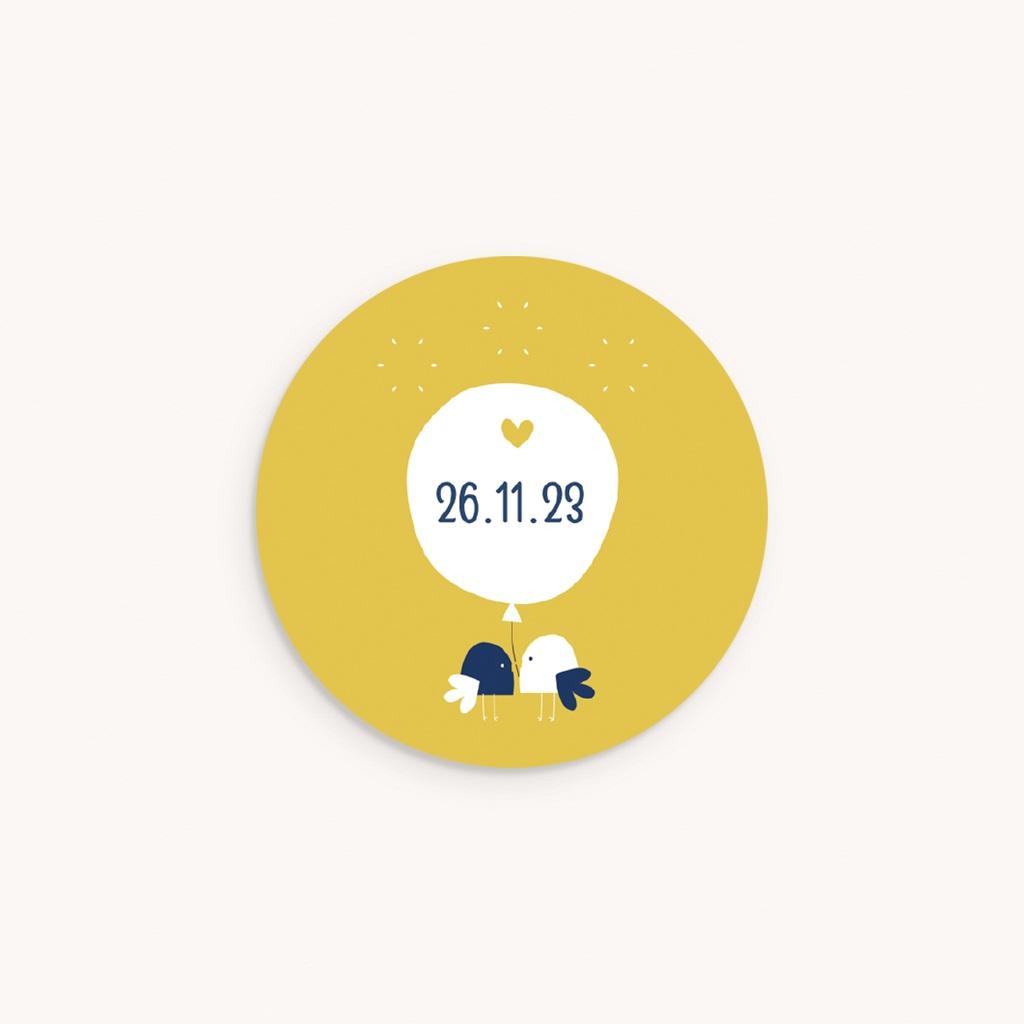 Sticker Enveloppe Naissance Joyful, Oiseaux et fond jaune