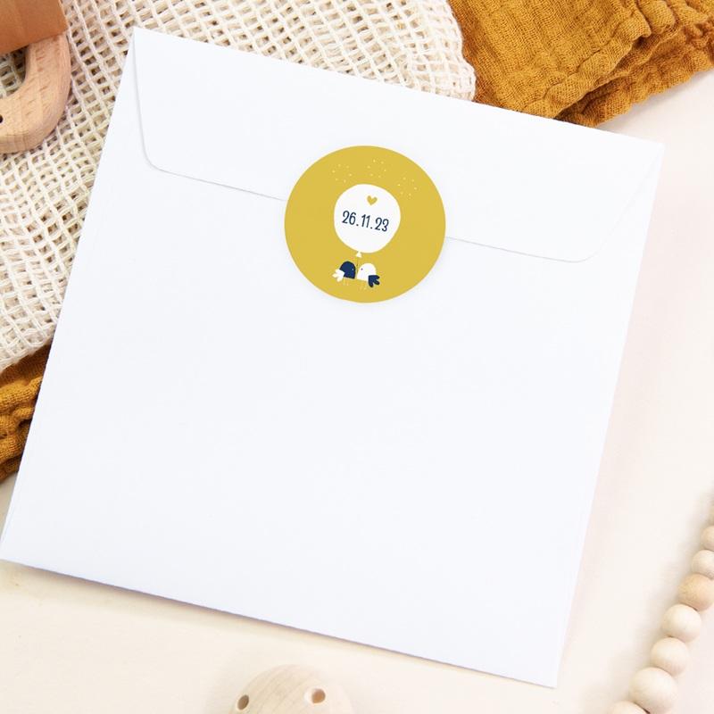 Sticker Enveloppe Naissance Joyful, Oiseaux et fond jaune pas cher