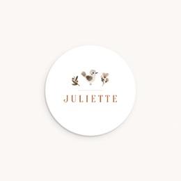 Sticker Enveloppe Naissance Oiseau des sous-bois, prénom